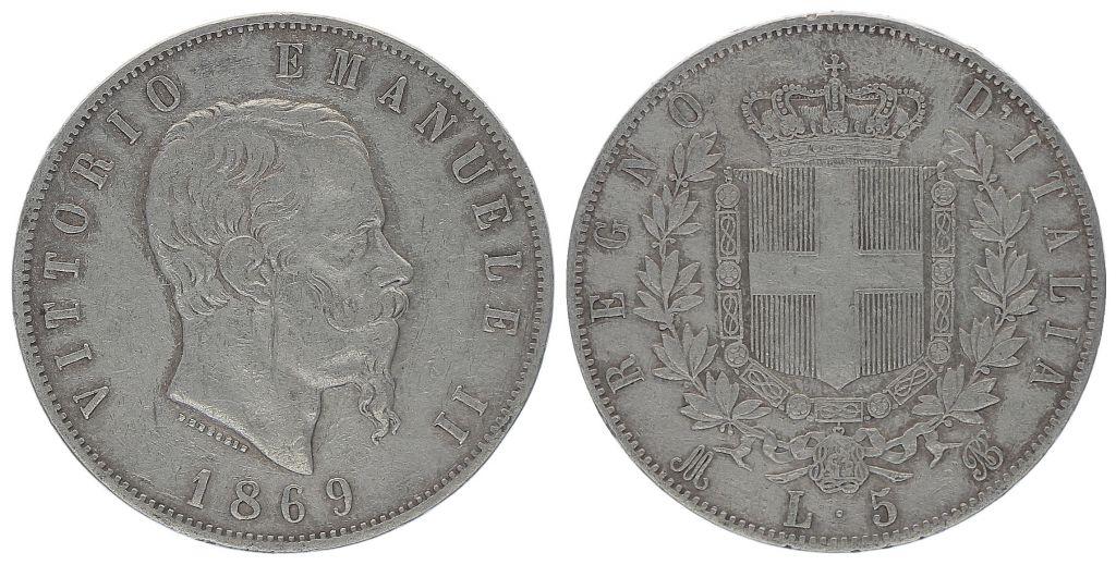 Italie 5 Lire Victor Emmanuel II- Armoiries - 1869