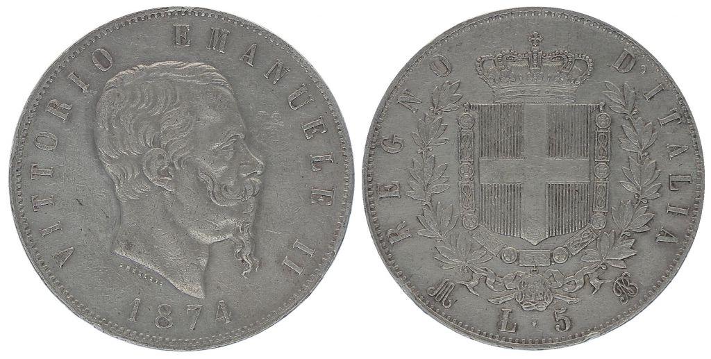 Italie 5 Lire Victor Emmanuel II- Armoiries - 1874
