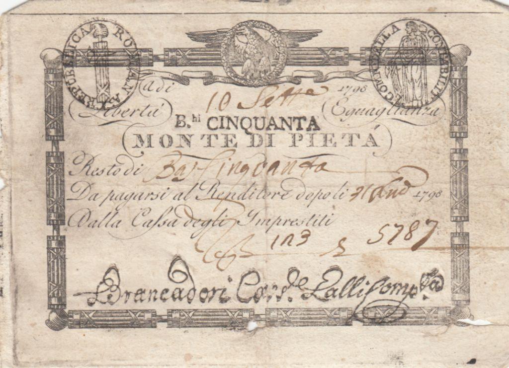Italie 50 Bajiocchi Monte Di Pieta - 1798