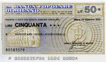 Italie 50 Lire Banca Popolare di Milano - 1976 - Milano - Neuf
