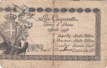 Italie 50 Lire Régie Finanze-Torino - Armoiries 1796 n° 12036