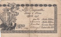 Italie 50 Lire Régie Finanze-Torino - Armoiries 1796 n°73497