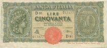 Italie 50 Lire Tête de «Italia»
