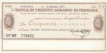 Italie 50 lires Banca di credito Agrario Di Ferrara - 1977 - Neuf