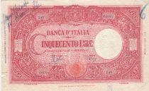Italie 500 Lire - 23-08-1943 - Rouge, FAUX, perforé FALSO