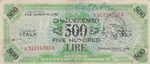 Italie 500 Lire 1943 - Vert et bleu - FAUX, perforé et tamponné FALSO