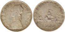 Italie 500 Lires 1966 - République, argent