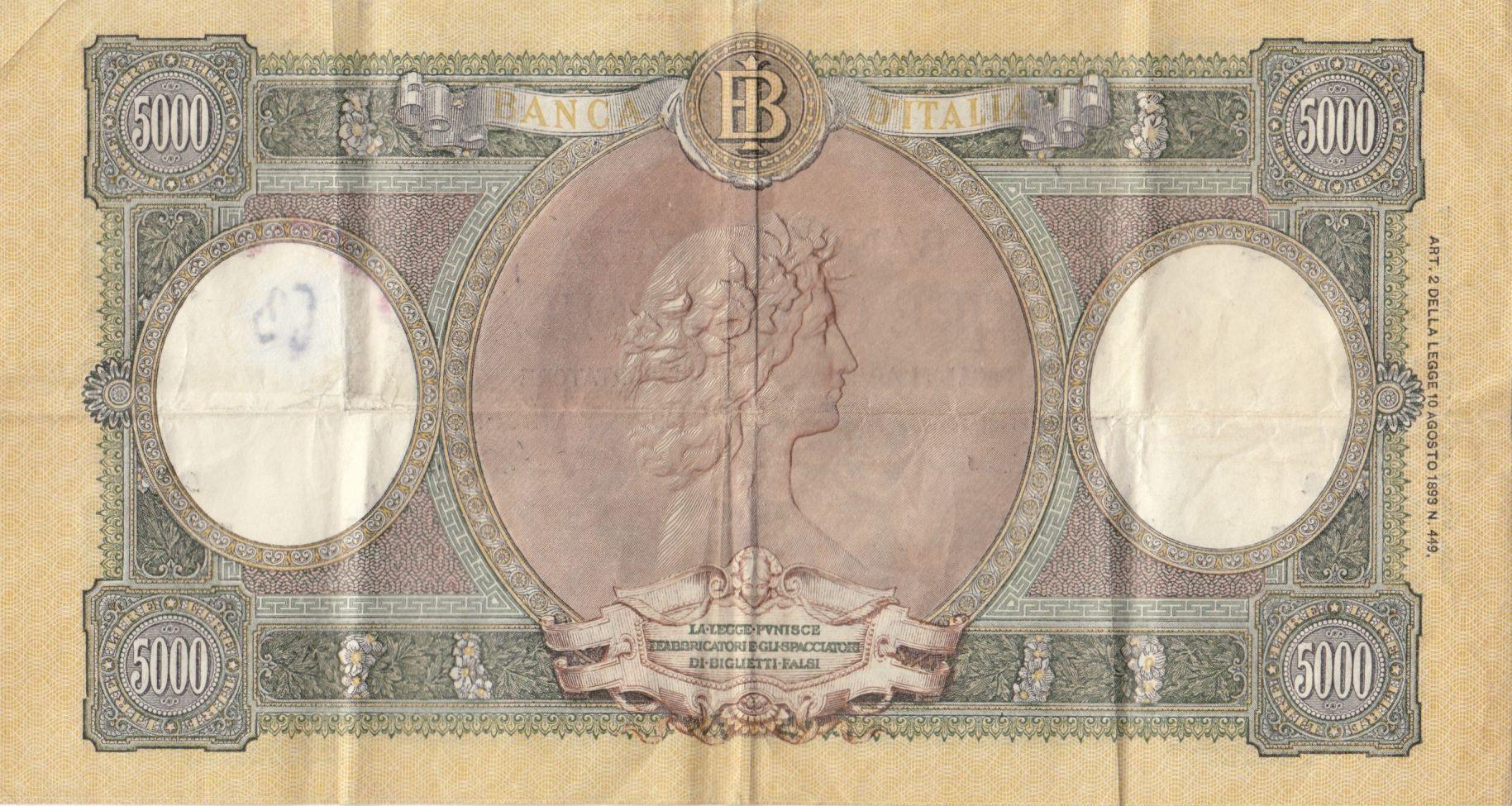Italie 5000 Lire - 23-04-1956 - Série C.608 - TTB - P.85
