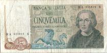 Italie 5000 Lire Christophe Colomb - 3 Caravelles - 1973