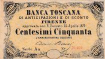 Italie NR.10 50 Centesimi, Vert et noir - Série Aa - 1870
