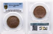 Italien 10 Centesimi Vittorio Emanuele II - 1863 PCGS MS 63
