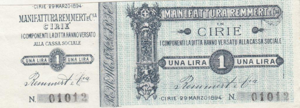 Italy 1 Lira, Manufactures Cirié - 1894 - Notgelt