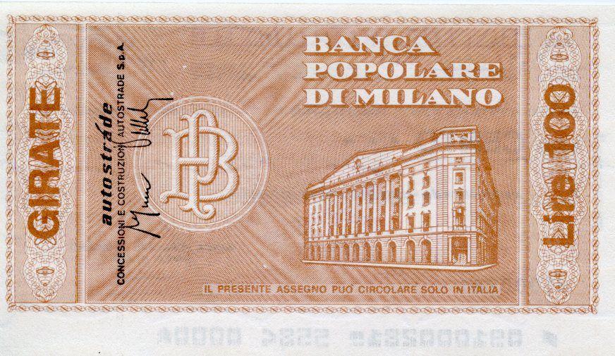 Italy 100 Lire Banca Popolare di Milano - 1976 - Milano - UNC