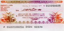 Italy 100 Lire Banco di Chiavari e della Riviera Ligure - 1977 - Genova - UNC