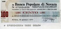 Italy 100 Lire Banco Popolare di Novara - 1977 - Novara - UNC