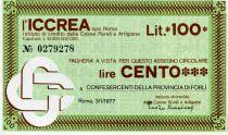 Italy 100 Lire ICCREA - 1977 - Roma - to Confesercenti della Provincia di Forli - UNC