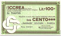 Italy 100 Lire ICCREA - Barnabe Silvano - 1977 - UNC