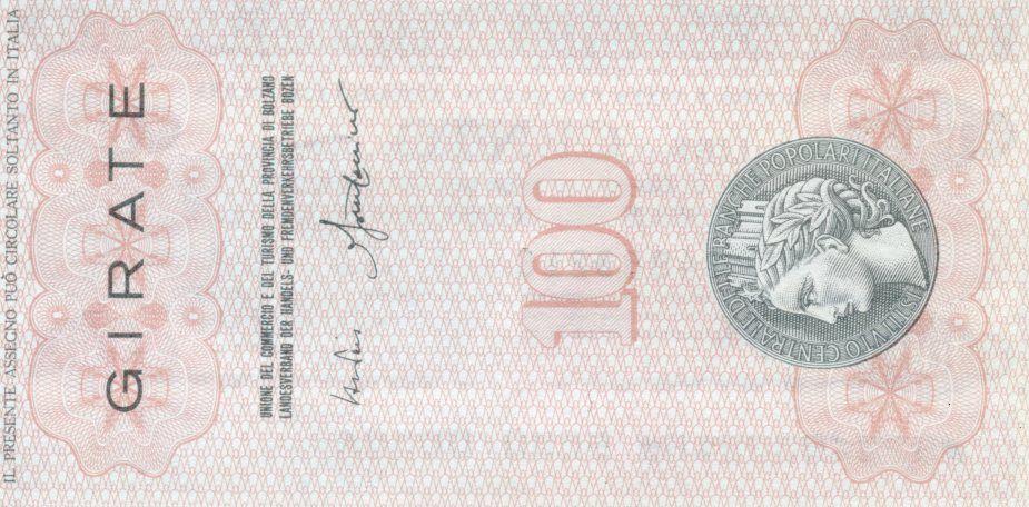 Italy 100 Lire Istituto Centrale Delle Banche Popolari Italiane - 1977 - Bolzano - UNC