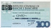 Italy 100 Lire Istituto Centrale di Banche E Banchieri - 1977 - Milano - Banco S.Geminiano - UNC