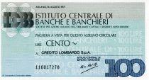 Italy 100 Lire Istituto Centrale di Banche E Banchieri - 1977 - Milano - Credito Lombardo - UNC