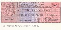 Italy 100 Lires  lIstituto Bancario San Paolo di Torino - 1976 - Piacenza - UNC