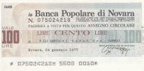 Italy 100 Lires Banca Popolare di Novara - 20-01-1977 - UNC