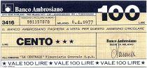 Italy 100 Lires Banco Ambrosiano - 06-04-1977 - La Centrale - UNC