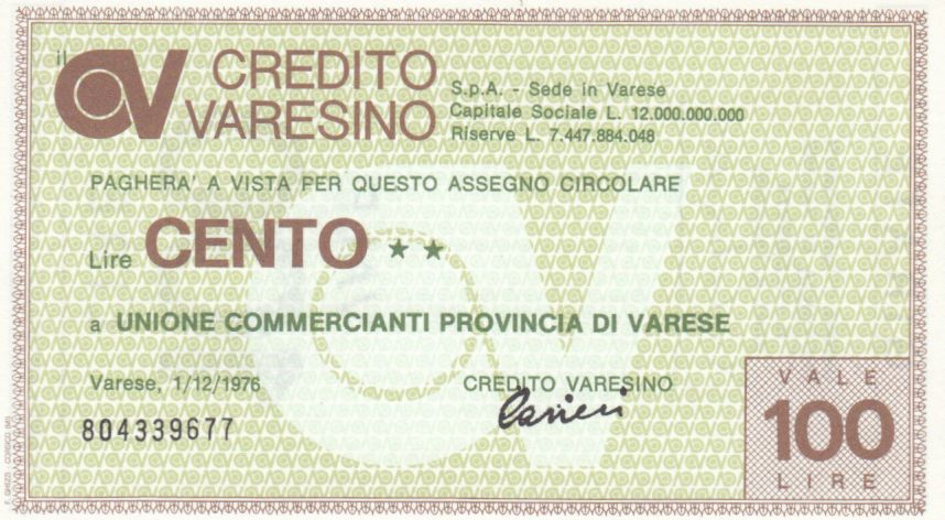 Italy 100 Lires Credito Varesino - 1976 - UNC