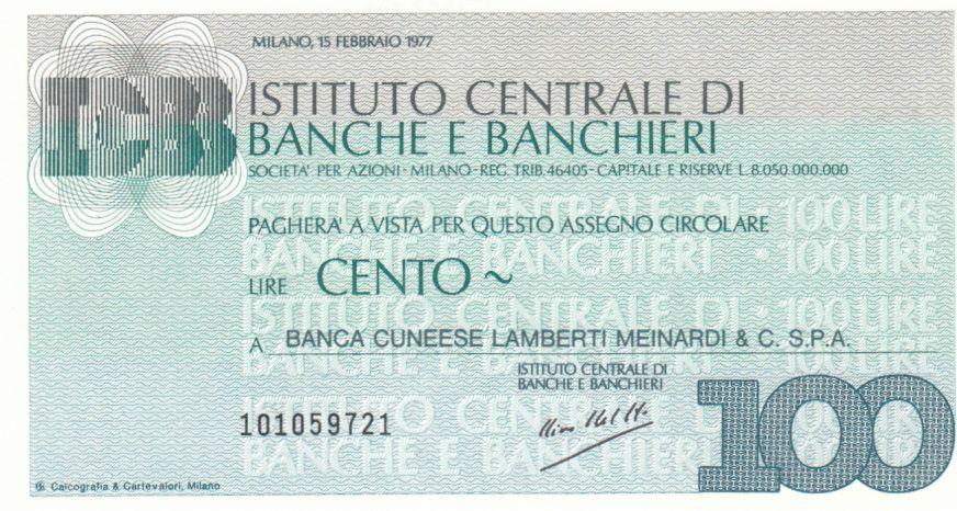 Italy 100 Lires Istituto Centrale di Banche E Banchieri - 1977 - UNC