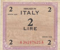 Italy 2 Lire 1943 - Purple and brown - Serial A34287425A