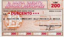 Italy 200 Lire Banca Credito Agrario Bresciano - 1976 - Brescia - UNC