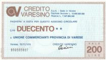 Italy 200 Lires Credito Varesino - 1976 - UNC