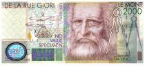 Italy 2000 Le Mont, Test Note - De la Rue Giori - Leonard da Vinci - 2000
