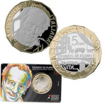 Italy 5 Euro Eduardo De Filippo 2020 - in folder - Bimetal
