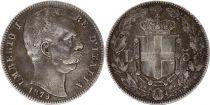 Italy 5 Lire Umberto I - Arms - 1879 R Roma Silver