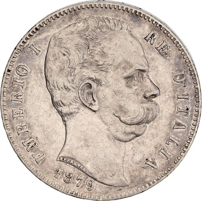 Italy 5 Lire Umberto I - Arms - 1879 R Rome