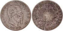 Italy 5 Lire Victor Emmanuel II - 1876 R Roma - Silver