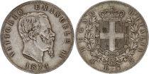 Italy 5 Lire Victor Emmanuel II - Arms - 1874 Silver