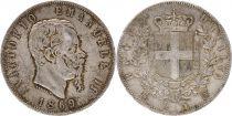 Italy 5 Lire Victor Emmanuel II- Arms - 1869 Silver