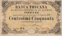 Italy 50 Centesimi,Banca Toscana - Serial Bb - 1870 - XF to AU