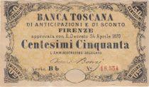 Italy 50 Centesimi,Banca Toscana - Serial Bb - 1870 - XF to AU