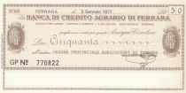 Italy 50 Lire Banca di credito Agrario Di Ferrara - 1977 - UNC