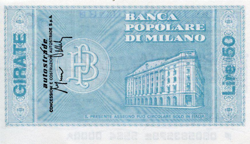 Italy 50 Lire Banca Popolare di Milano - 1976 - Milano - UNC