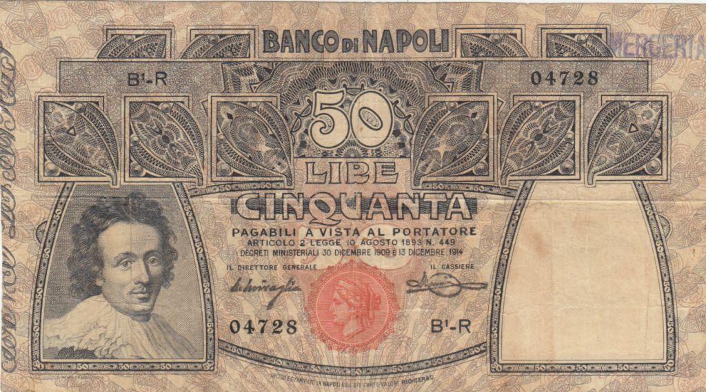 Italy 50 Lire Banco di Napoli - 1914