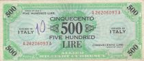 Italy 500 Lires 1943 - Allied Military - VF
