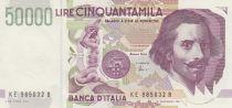 Italy 50000 Lire G.L. Bernini - 1992 - aUNC - P.116c - Serial KE
