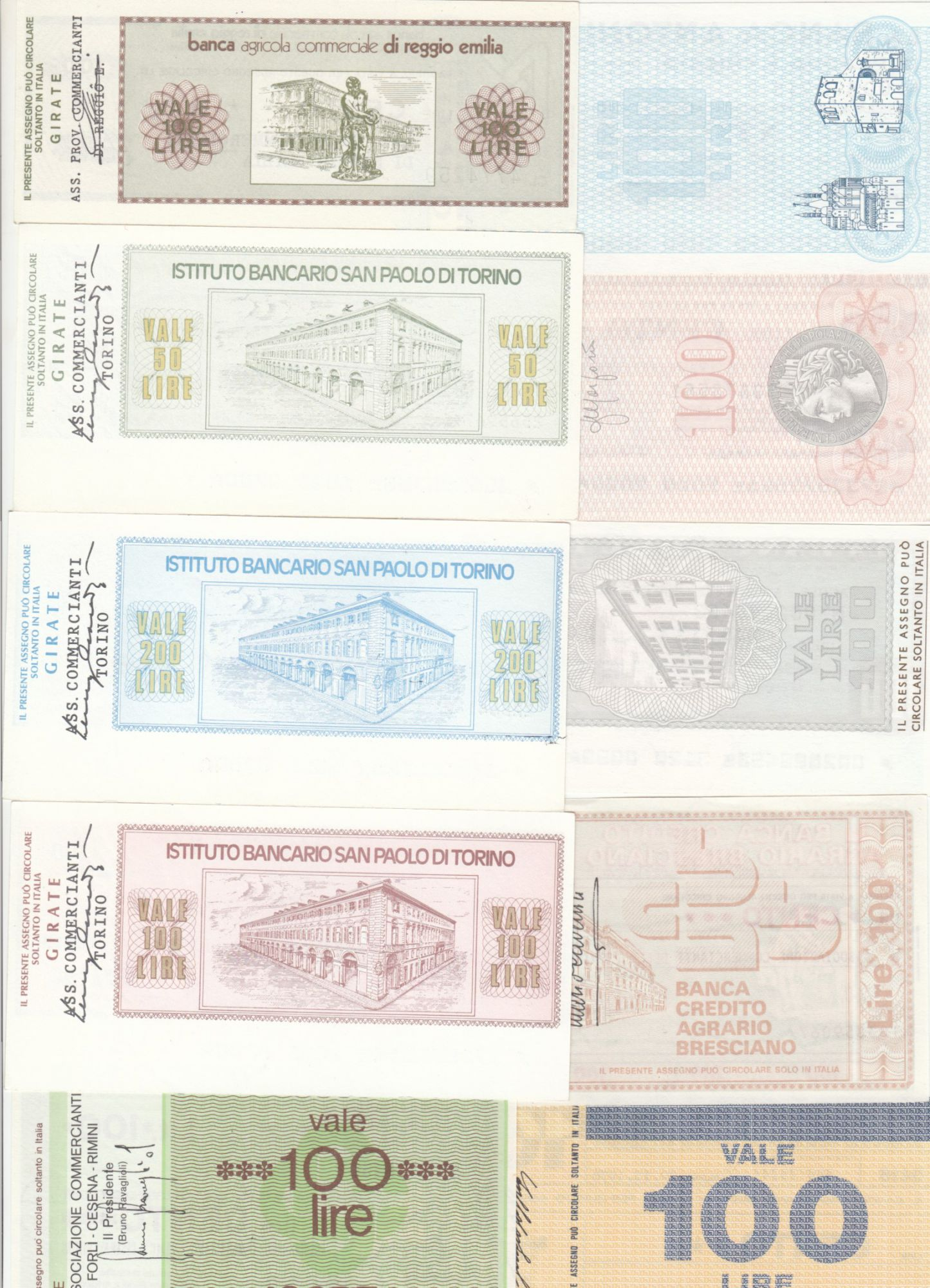 Italy Lot of 10 assegno - 1976 to 1977 - UNC
