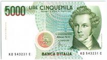 Italy P.111.c 5000 Lire, V. Bellini - Scene from Norma - 1985
