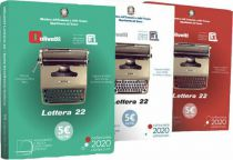Italy Set of 3 x 5 Euro Olivetti Letterra 22- 2020 - in folder - Silver Colorized
