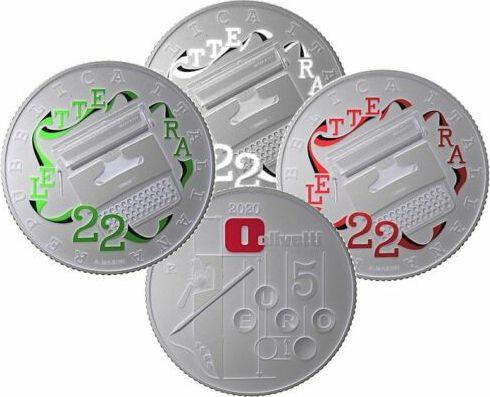 Italy Set of 3 x 5 Euro Olivetti Letterra 22- 2020 - in folder - Silver Colorized